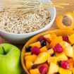 Fruits and oats in a bowl